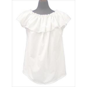 衿元フリルブラウス 袖なし フリーサイズ|sweetaloha