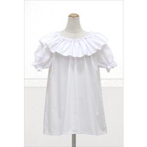 衿元フリルブラウス 袖あり フリーサイズ|sweetaloha
