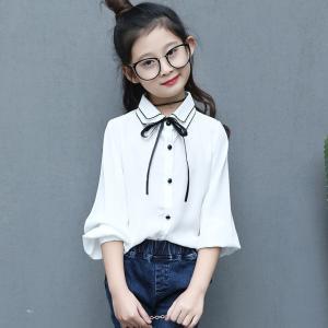入学式 子供服 女の子 リボン付 長袖 ブラウス シャツ 韓...