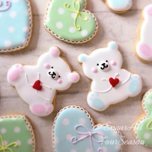 【アイシングクッキー】シロクマハート 10セット|sweets-chuchu