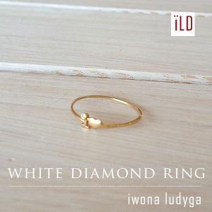 Iwona Ludyga イワナ ルディガ 14K ゴールド ホワイトダイヤ ハートリング 指輪 レディースブランド sweetstyle