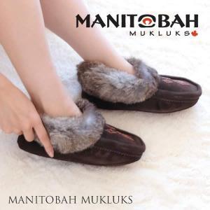 マニトバ ムクルックス MANITOBAH MUKLUKS  Tipi Moccasin  あったかルームシューズ チョコレート|sweetstyle