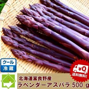 アスパラ 北海道富良野産 ラベンダーアスパラ(紫アスパラ)500g(S〜Lサイズ込)送料無料