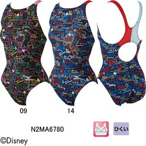 ミズノ(MIZUNO)ディズニー(アリスインワンダーランド)女性用 競泳水着 ストリームアクティバ ウイメンズローカット(オープン)N2MA6780|swimshop-jone
