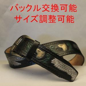ベルト 本革製 メンズ イーグルデザイン ブラック 全長102cm|swingdog
