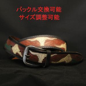 ベルト メンズ 本革製 バッファロー フラワーデザイン ロングサイズ ウエスト100〜120cm対応 |swingdog