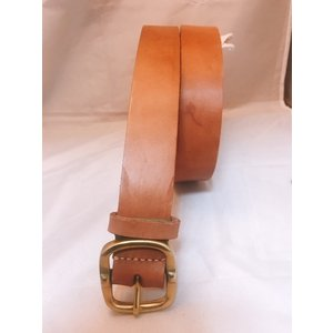 ベルト 本革製 真鍮バックル 4cm幅 5mm厚ヌメ革ベルト 全長115cm ウエスト85〜100cm対応 送料無料|swingdog