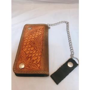 財布 牛革製 カービング調型押し ウォレット チェーン付き ドル札サイズ 送料無料|swingdog