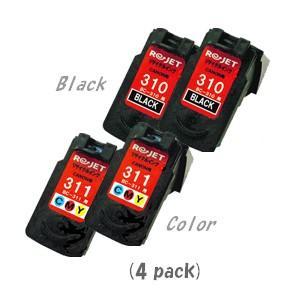 【カラーは現物再生!】キャノン BC-310(ブラックx2)+311(カラーx2)[4個セット] [CANONリサイクルインク] (iP2700 MP270 MP280 MP480 MP490 MP493)|sworld