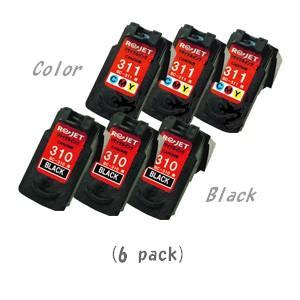 【カラーは現物再生!】キャノン BC-310(ブラック×3)+BC-311(カラー×3) [計6個セット] (CANONリサイクルインク) (iP2700 MP270 MP280 MP480 MP490 MP493)|sworld