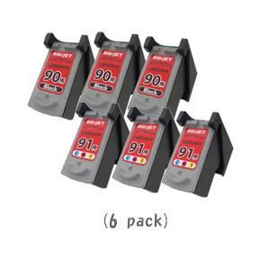 キャノン BC-90(ブラック×3)+BC-91(カラー×3)「計6個セット」 (CANONリサイクルインク) PIXUS iP1700 iP2200 iP2500 iP2600 MP170 MP450 MP460 MP470|sworld