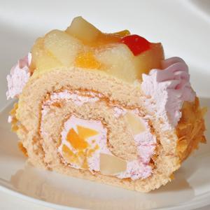 桃ケーキ ロールケーキ フルーツケーキ バースデーケーキ (桃たっぷりの大きなロールケーキ)誕生日や贈り物にも|swwetpremium|02