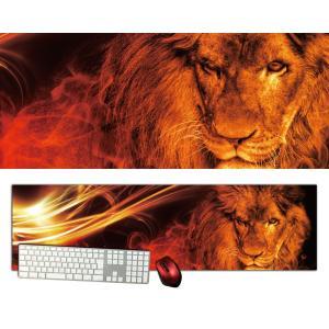 ライオン特大デスクマットdsm16/1000×280/セミハードタイプ/マウスパッド/ゲーミング/高級感のあるエンボス仕様/かっこいい|syarakugenesis