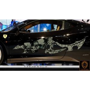 車 ステッカー かっこいい カスタム スカル ドクロ 髑髏 カーステッカー 車用 スポーツ カラー バイナルグラフィック ワイルドスピード系 ユーロ デカール 3 syarakugenesis