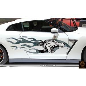 車 ステッカー かっこいい カスタム ウルフ 狼 カーステッカー 車用 スポーツ カラー バイナルグラフィック ワイルドスピード系 ユーロ デカール 5 syarakugenesis