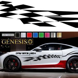 チェッカーカーステッカーwa18■バイナルグラフィック車ワイルドスピード系デカール かっこいい 14色から選べる|syarakugenesis