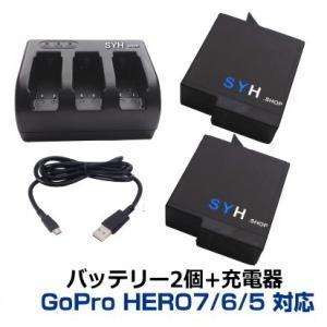 【GoPro】GoPro HERO5 ver2.00、ver1.57対応 互換バッテリー2個(保護ケース入り+USBトリプルバッテリー充電器 GoPro5 S-9|syh