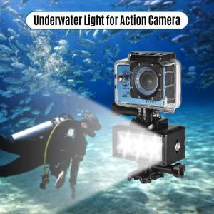 水深40mダイビングなどに使えるアクションカメラLEDライト 防水ケースに取り付け 3段階の明るさモ...