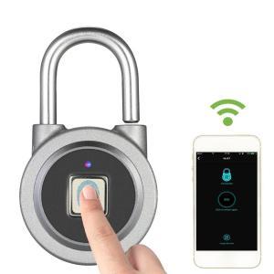 指紋認証 Bluetooth スマート キーレスロック 南京錠 iOS Android スマホ対応 ステンレス synergy2
