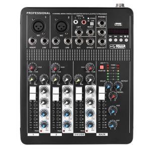 プロフェッショナル 4チャネル オーディオミキサー 3バンド イコライザー 48V ファントムパワー USBインターフェイス|synergy2