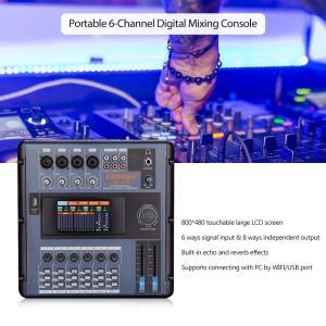 6チャネル ポータブルデジタルミキサー タッチスクリーン液晶 レコーディング DJ ライブ中継 カラオケ対応|synergy2