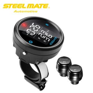 Steelmate EBAT ET-910AE オートバイ用 TPMS  (Tire Pressure Monitoring System) ワイヤレス タイヤ 空気圧 温度 モニタリングシステム|synergy2