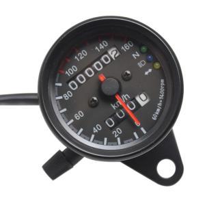 オートバイ用 12V アナログ スピードメーター オドメーター LEDインジケーター|synergy2