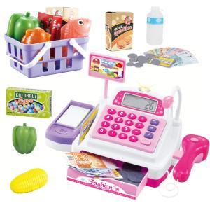 送料無料 34点セット レジスターおもちゃ お買い物レジスター お会計 ままごと おままごと セット  お店屋さんごっこ ごっこ遊び 知育玩具