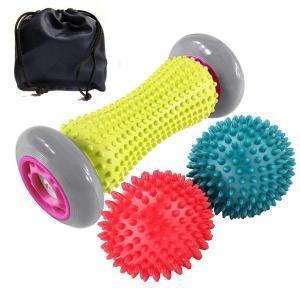 【フットローラーリフレクソロジ】 フットマッサージローラーと先端のとがったボールはどちらも足底筋膜炎...