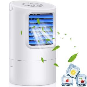 送料無料 冷風扇  冷風機  卓上 扇風機 ミニ エアコンファン  気化式加湿 冷却機能 小型クーラー 風量3段階  角度調整可能  夜間7色ライト synergyselect
