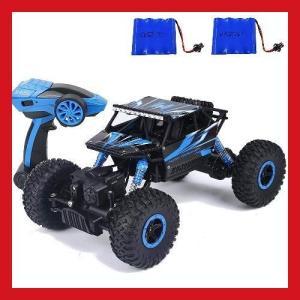 送料無料  ラジコンカー 2.4Ghz 4WD オフロード車 RCカー 防振性抜群 走破性抜群 1/18 ミニカー 子どもプレゼント車おもちゃ ブルー|synergyselect