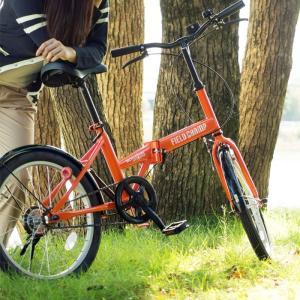 折りたたみ 自転車 20インチ FIELD CHAMP シングルギア シンプル 20インチ 折りたたみ自転車 オレンジ  X0111|synergyselect