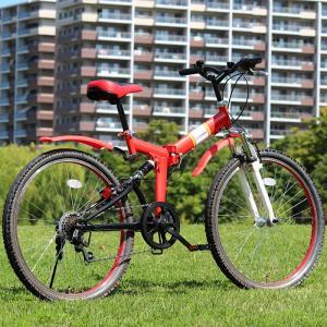 折りたたみ 自転車 26インチ FIELD CHAMP シマノ製6段変速 Wサス  マウンテンバイク 26インチ 折りたたみ自転車  レッド  X0111|synergyselect