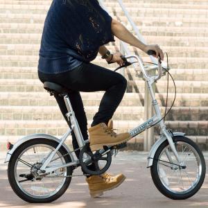 折りたたみ 自転車 16インチ FIELD CHAMP シンプル 16インチ 折りたたみ自転車 シルバー X0111|synergyselect