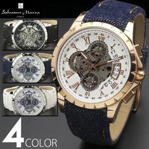 クロノグラフ 腕時計 メンズ 全4色 1年保証 正規 Salvatore Marra サルバトーレ マーラ  スケルトン クロノグラフ 腕時計 BOX 保証書付|synergyselect