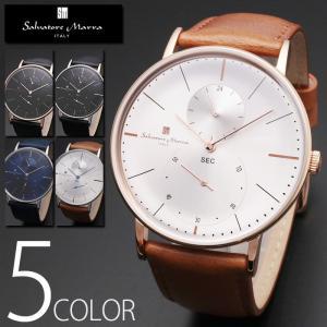5気圧防水 スモールセコンド 腕時計 メンズ 1年保証 全5色 正規 Salvatore Marra サルバトーレ マーラ  腕時計 BOX 保証書付 0522|synergyselect