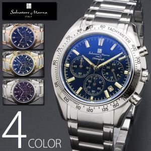 10気圧防水 クロノグラフ 腕時計 メンズ 1年保証 全4色 正規 Salvatore Marra サルバトーレ マーラ クロノグラフ 腕時計 BOX 保証書付 0522|synergyselect