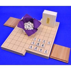 将棋セット 新桂1寸スライド将棋盤セット(木製将棋駒楓漆書き駒)