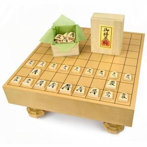 将棋セット 新桂2寸ハギ足付将棋盤セット(将棋駒樺材優良押し...