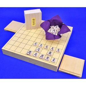 将棋セット ヒバ1寸5分卓上将棋盤セット(木製将棋駒楓漆書き駒)