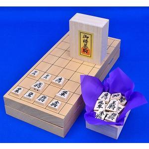 将棋セット 新桂10号折将棋盤セット(木製将棋駒白椿上彫)