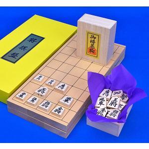 将棋セット 新桂7号折将棋盤セット(木製将棋駒白椿上彫)