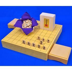 将棋セット 新かや2寸一枚板卓上将棋盤セット(木製将棋駒黄楊錦旗彫駒)