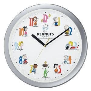 リズムスヌーピーM712A掛け時計シルバーメタリック色4KG712-MA19|syohbido-store