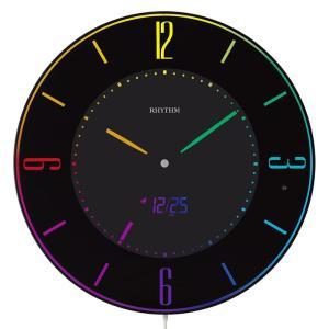10倍ポイント/RHYTHM リズム 掛け置き兼用 カラー表示 電波デジタルクロック Iroria A(イロリア エー) 8RZ197SR02  黒 syohbido-store