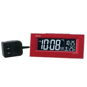 10倍ポイント/SEIKO セイコー 夜でも見える アラーム付 デジタル電波置き時計  DL209R 赤 syohbido-store
