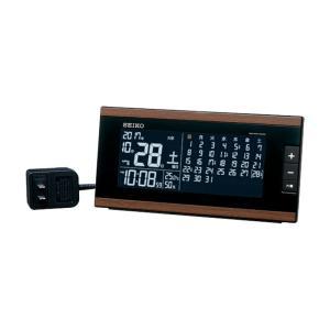 10倍ポイント/SEIKO セイコー マンスリーカレンダー表示付き 交流式 デジタル電波置き時計  DL212B 茶木目 syohbido-store