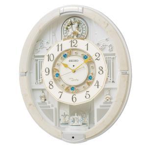 10倍ポイント/SEIKO(セイコー) 電波からくり掛け時計 ウェーブシンフォニー  RE576A  アイボリー|syohbido-store