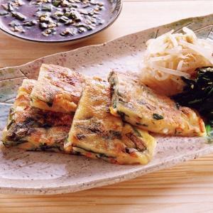冷凍食品 業務用 ニラチヂミ 120g×5枚 韓国 粉物 粉もの 粉モノ ちぢみ おつまみ|syokusai-netcom