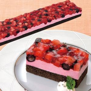 冷凍食品 業務用 フリーカットケーキ ダブルベリー 495g    お弁当 ムース デザート ケーキ スイーツ ラズベリー ブルーベリー|syokusai-netcom